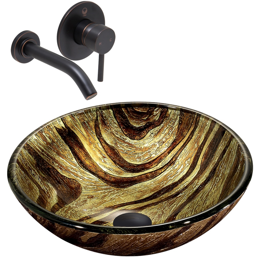 VIGO Glass Sink and Vessel Faucet Set Zebra Glass Vessel Bathroom Sink with Faucet (Drain Included)