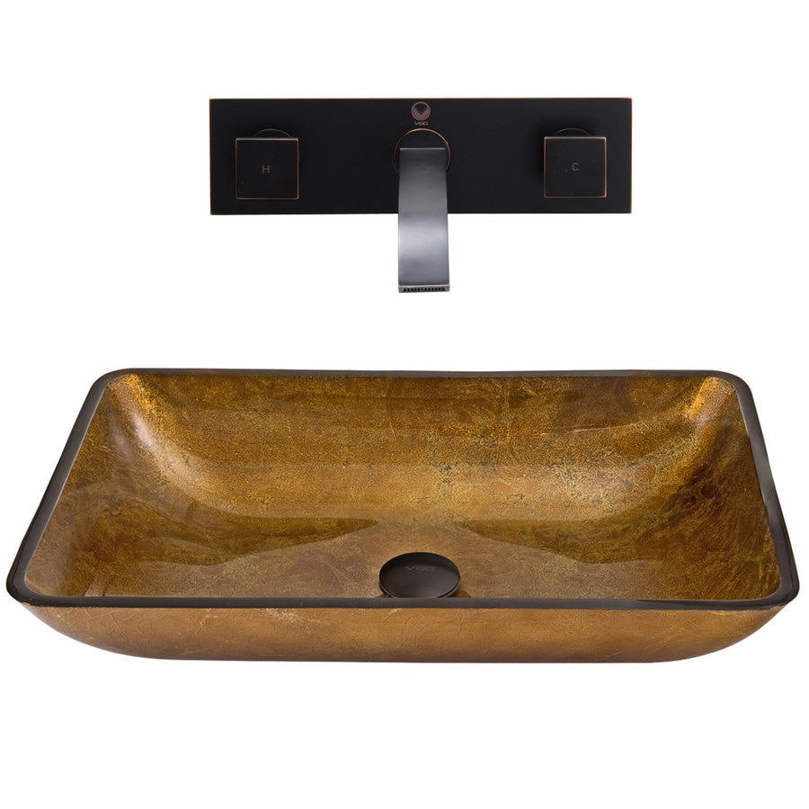 VIGO Glass Sink and Vessel Faucet Set Copper Glass Vessel Bathroom Sink with Faucet (Drain Included)