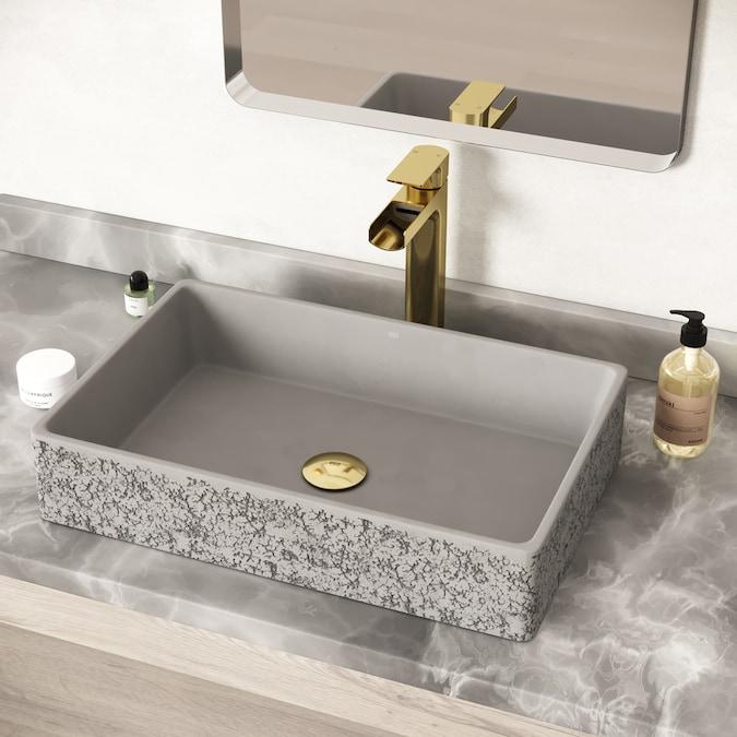 Vigo Dahlia Ash Gray Concrete Vessel Rectangular Bathroom Sink 21 25 In X 13 875 In In The Bathroom Sinks Department At Lowes Com