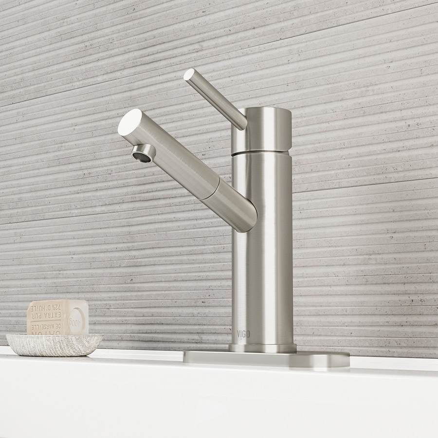 VIGO Brushed Nickel 1-Handle Single Hole WaterSense Bathroom Faucet