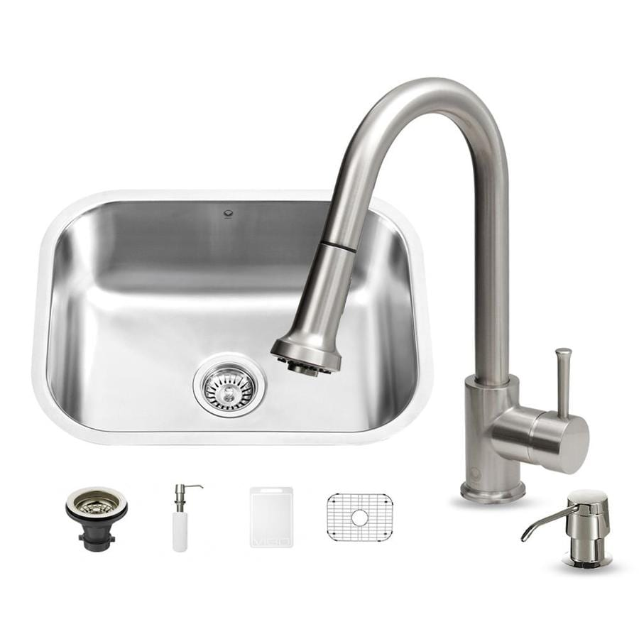 VIGO 23-in x 17.75-in Stainless Steel Single-Basin Undermount 1-Hole Commercial/Residential Kitchen Sink All-In-One Kit