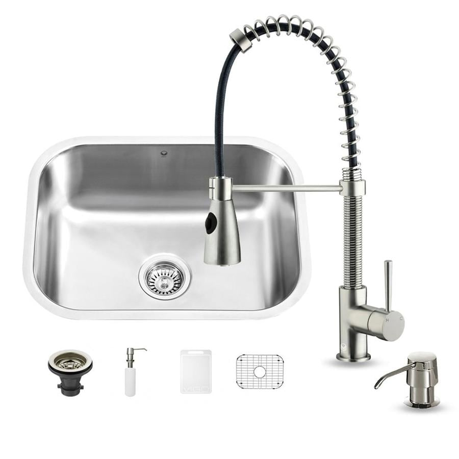 VIGO 23.0-in x 17.75-in Premium Satin Single-Basin-Basin Stainless Steel Undermount (Customizable)-Hole Commercial/Residential Kitchen Sink All-In-One Kit