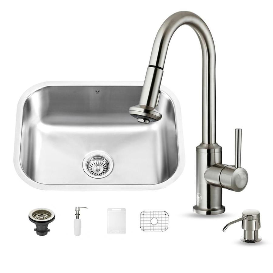 VIGO 23.0-in x 17.75-in Premium Satin Single-Basin Stainless Steel Undermount Commercial/Residential Kitchen Sink All-In-One Kit