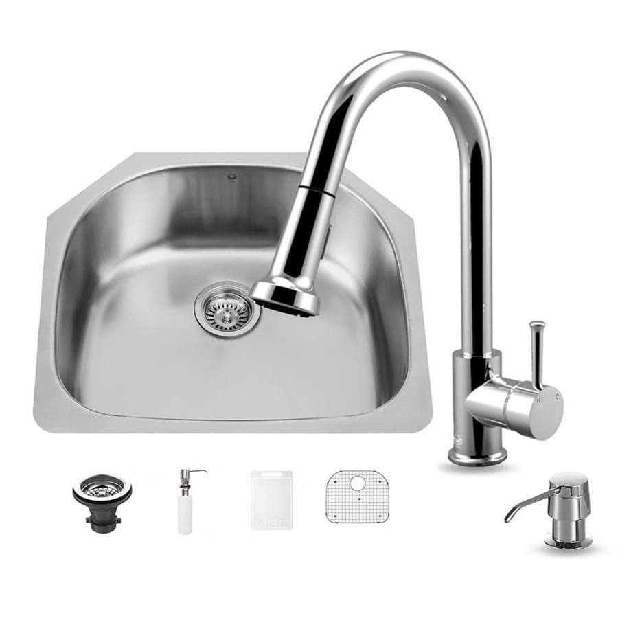 VIGO 23.5-in x 21.0-in Stainless Steel Single-Basin-Basin Stainless Steel Undermount (Customizable)-Hole Commercial/Residential Kitchen Sink All-In-One Kit