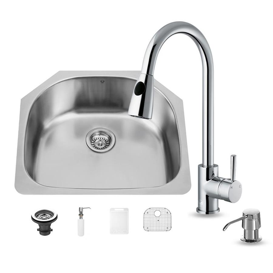VIGO 23.5-in x 21-in Stainless Steel Single-Basin Undermount Commercial/Residential Kitchen Sink All-In-One Kit