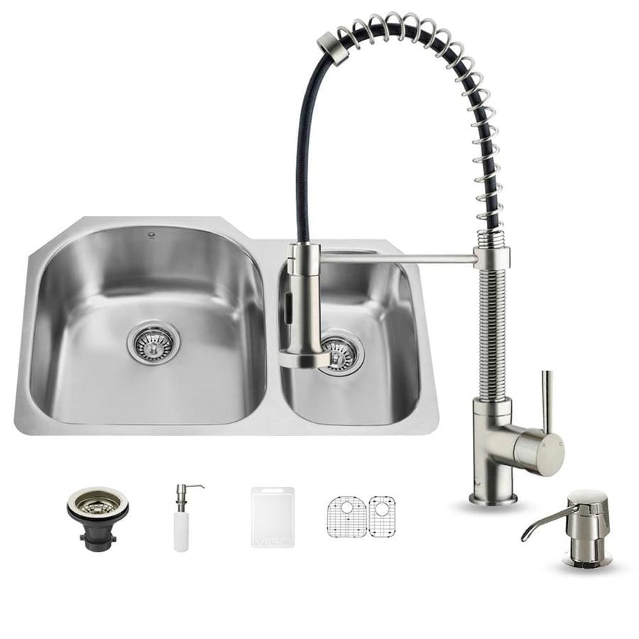 VIGO 31.5-in x 20.5-in Premium Satin Double-Basin Stainless Steel Undermount Commercial/Residential Kitchen Sink All-In-One Kit