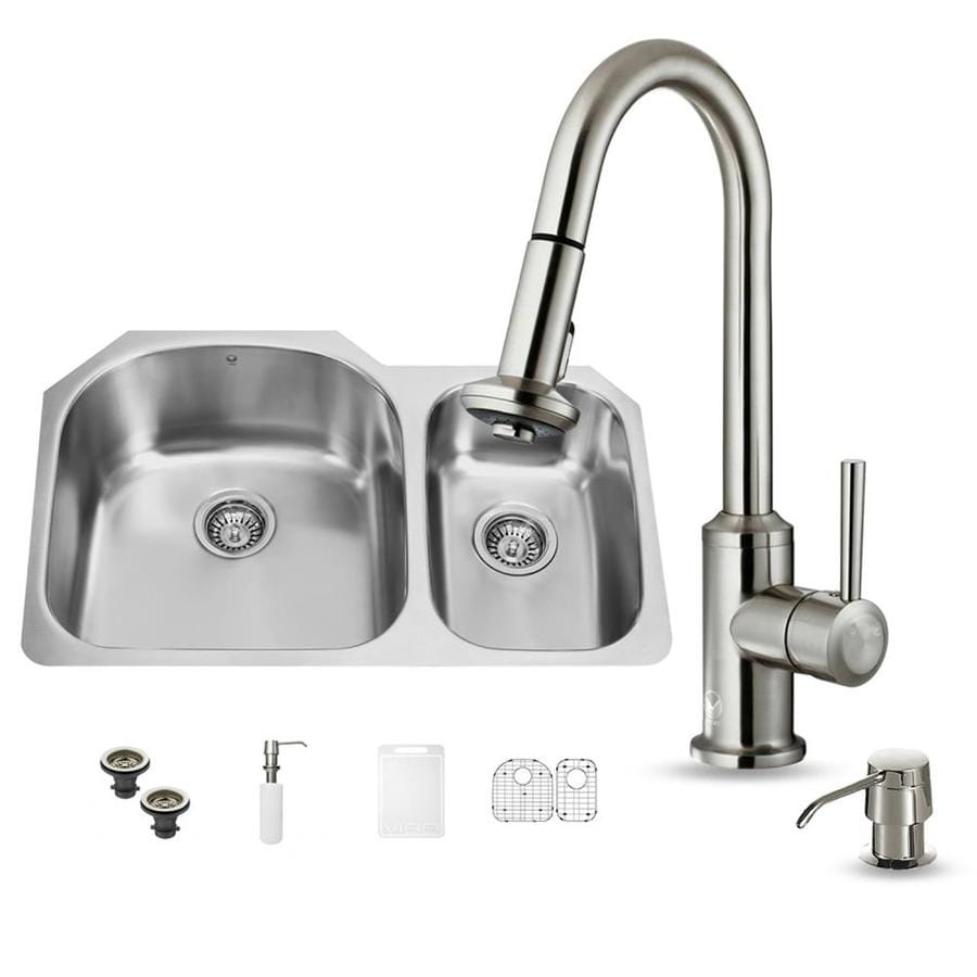 VIGO 31.5-in x 20.5-in Premium Satin Single-Basin-Basin Stainless Steel Undermount (Customizable)-Hole Commercial/Residential Kitchen Sink All-In-One Kit