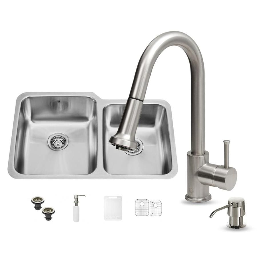 VIGO 32.0-in x 20.75-in Stainless Steel Single-Basin-Basin Stainless Steel Undermount (Customizable)-Hole Commercial/Residential Kitchen Sink All-In-One Kit