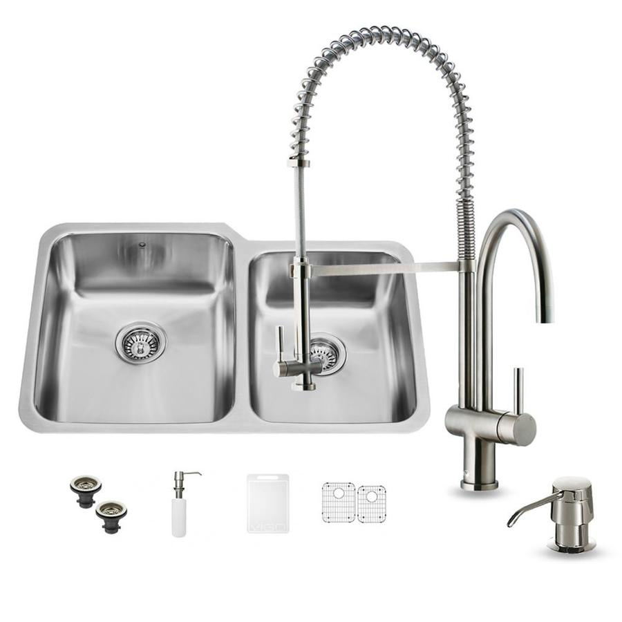 VIGO 32.0-in x 20.75-in Premium Satin Double-Basin Stainless Steel Undermount Commercial/Residential Kitchen Sink All-In-One Kit