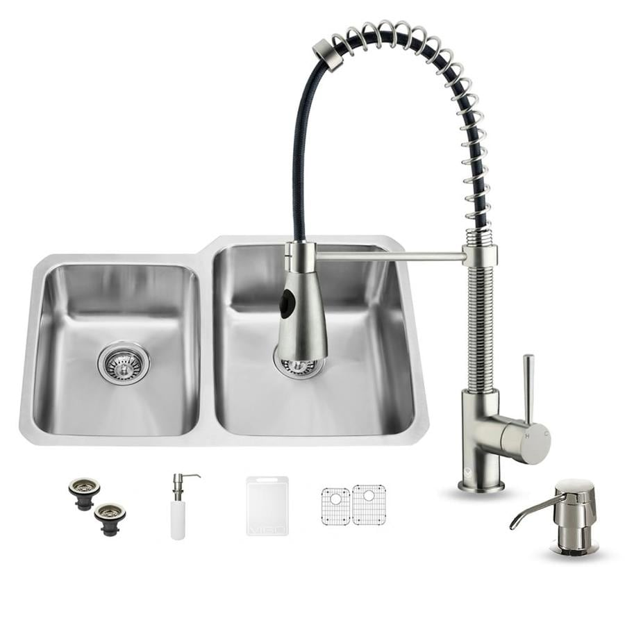 VIGO 32.0-in x 20.75-in Double-Basin Stainless Steel Undermount Commercial/Residential Kitchen Sink All-In-One Kit