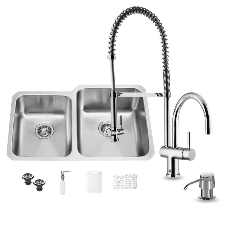 VIGO 32.0-in x 20.75-in Premium Satin Single-Basin-Basin Stainless Steel Undermount (Customizable)-Hole Commercial/Residential Kitchen Sink All-In-One Kit