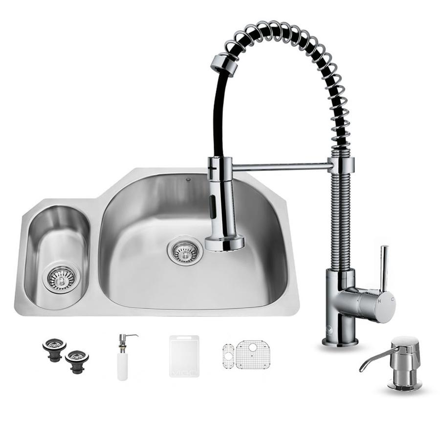 VIGO 31.75-in x 21.0-in Premium Satin Double-Basin Stainless Steel Undermount Commercial/Residential Kitchen Sink All-In-One Kit