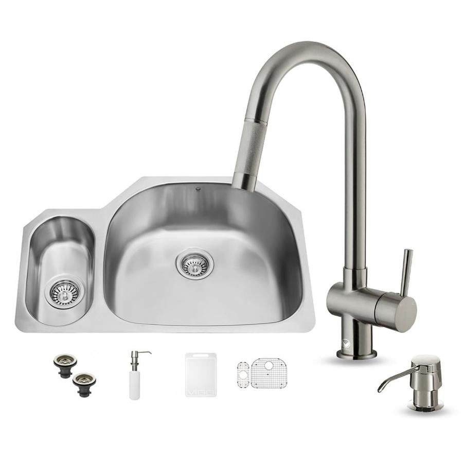Vigo 32 In X 21 Stainless Steel Double Basin Undermount Commercial