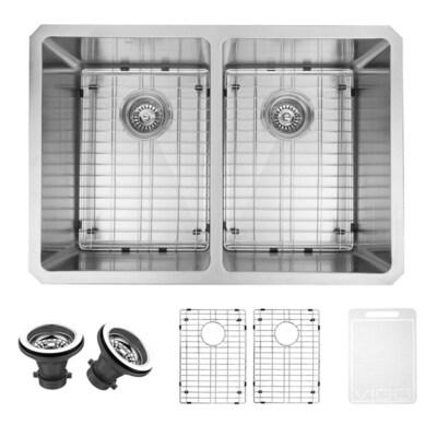 16-Gauge Double-Basin Undermount Stainless Steel Kitchen Sink