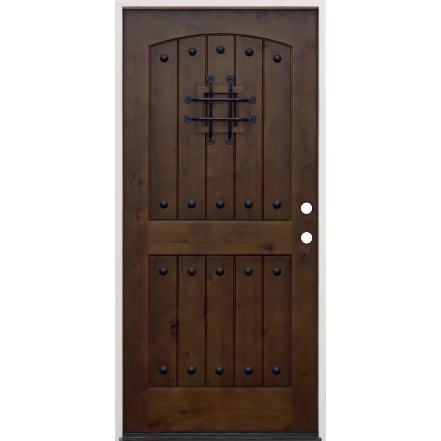 Attractive Creative Entryways Left Hand Inswing Walnut Alder Stained Wood Prehung Entry  Door With Solid Core