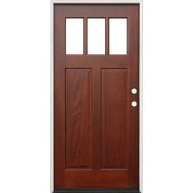 Creative Entryways Clear Glass Left Hand Inswing Mahogany Stained Wood  Prehung Entry Door With Solid
