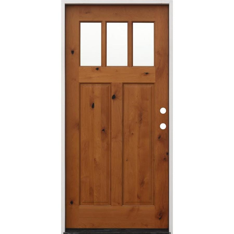 Creative Entryways Clear Glass Left Hand Inswing Golden Alder Stained Wood Prehung Entry Door With