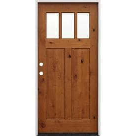 Creative Entryways Clear Glass Right Hand Inswing Golden Alder Stained Wood  Prehung Entry Door With Part 72