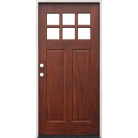 Creative Entryways Clear Glass Right Hand Inswing Mahogany Stained Wood  Prehung Entry Door With Solid