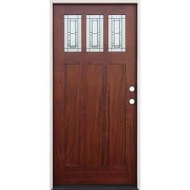 Creative Entryways Decorative Glass Left Hand Outswing Mahogany Stained Wood  Prehung Entry Door With Solid