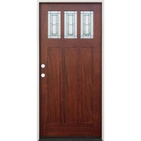 Creative Entryways Decorative Glass Right-Hand Inswing Mahogany Stained Wood Prehung Entry Door with Solid  sc 1 st  Loweu0027s & Shop Entry Doors at Lowes.com