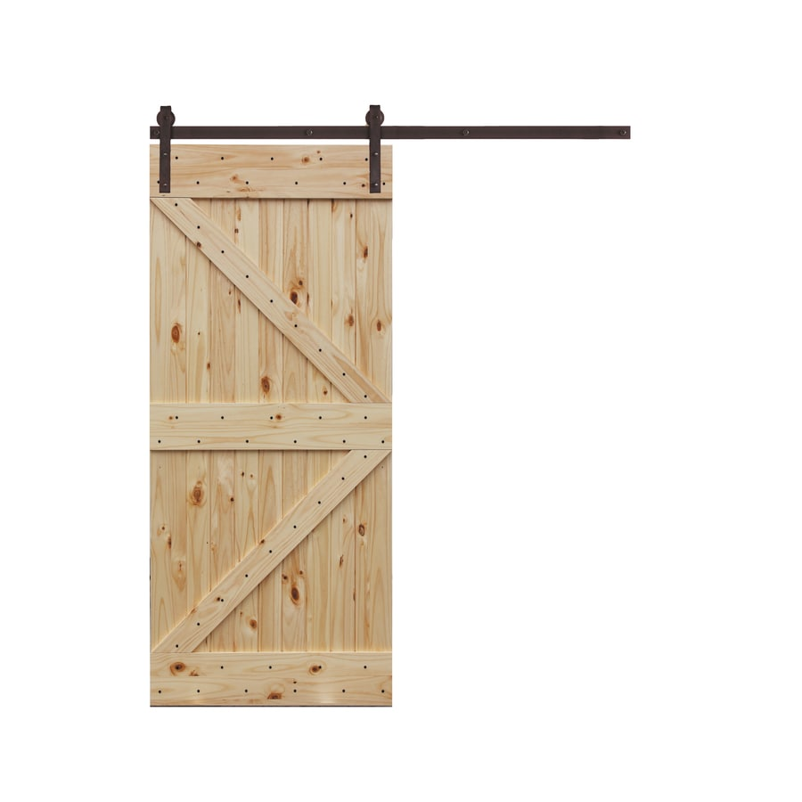 Creative Entryways Unfinished K Frame Wood Knotty Pine Sliding Barn Door  With Hardware Kit (