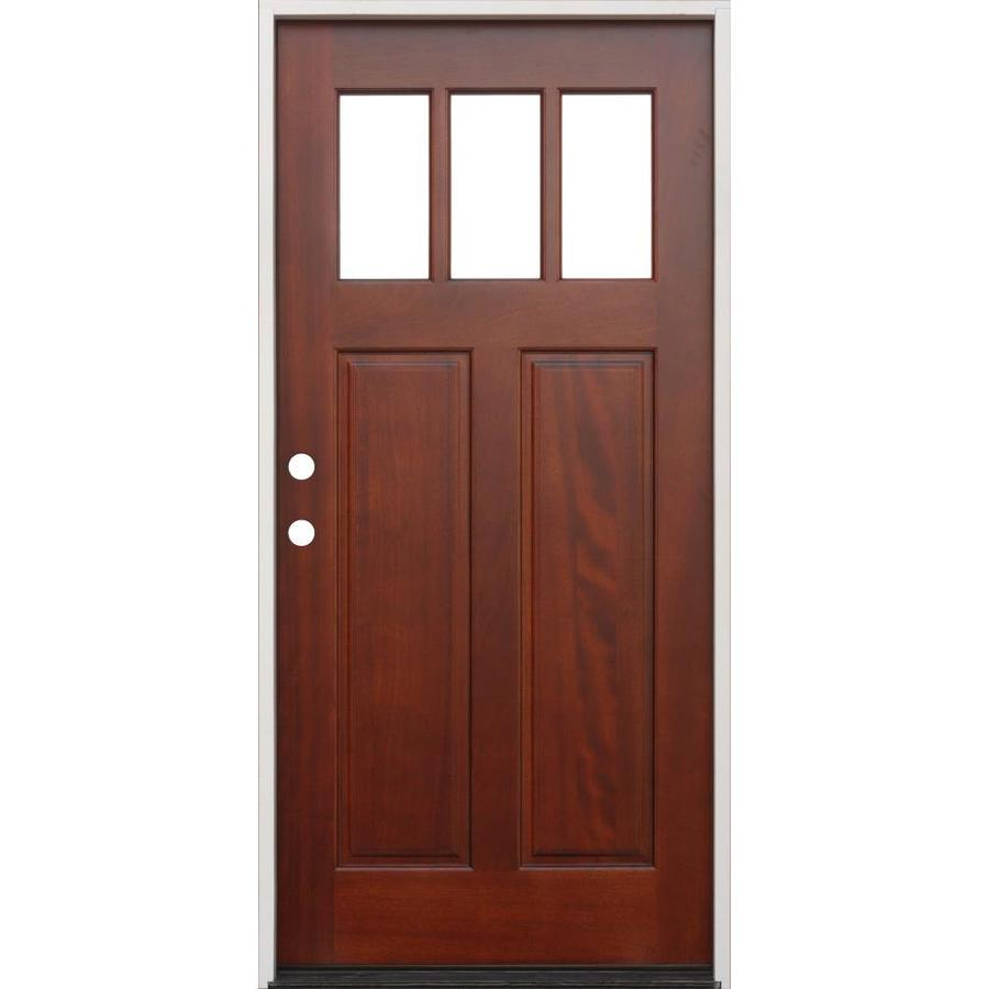 Creative Entryways Clear Glass Right-Hand Inswing Mahogany Stained Wood Prehung Entry Door with Solid Core (Common: 36-in x 80-in; Actual: 37.75-in x 81.5-in)
