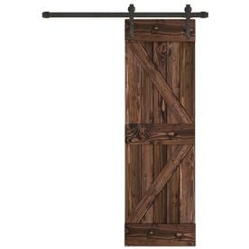 Creative Entryways Sliding Espresso Stained K Frame Wood Pine Barn Door Kit  Hardware Included (
