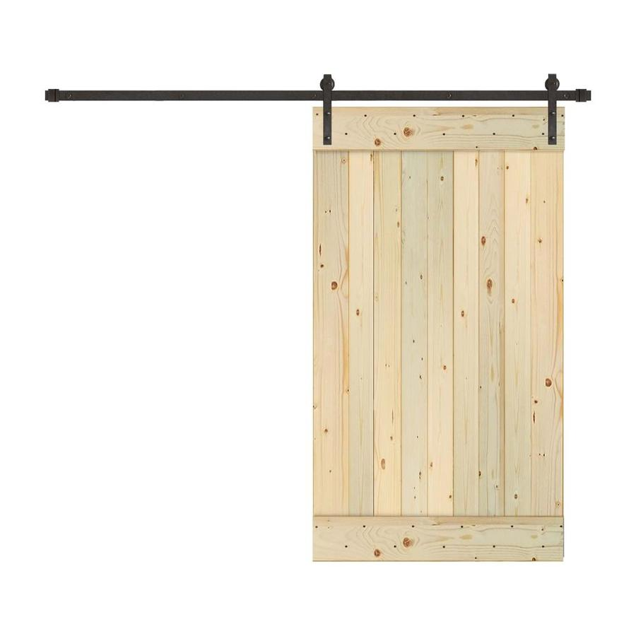 Shop Creative Entryways Sliding Unfinished 1 Panel Wood Pine Barn