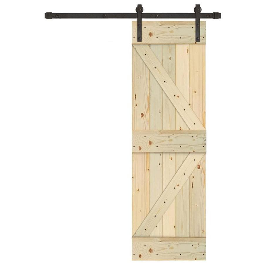 Creative Entryways Sliding Unfinished K Frame Wood Pine Barn Door With  Hardware (Common: