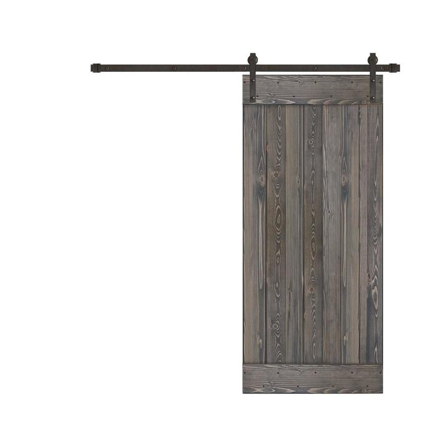 Creative Entryways Sliding Charcoal Stained 1-Panel Wood ...