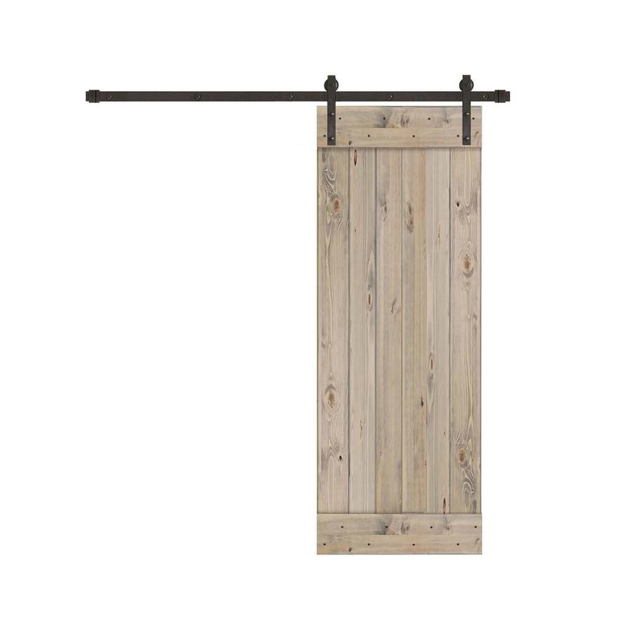 Creative Entryways Sliding Barn Door Kit Weathered Gray Stained 1 Panel  Wood Pine Barn Door Hardware Included (Common: 28 In X 80 In; Actual: 28 In  X 84 In)
