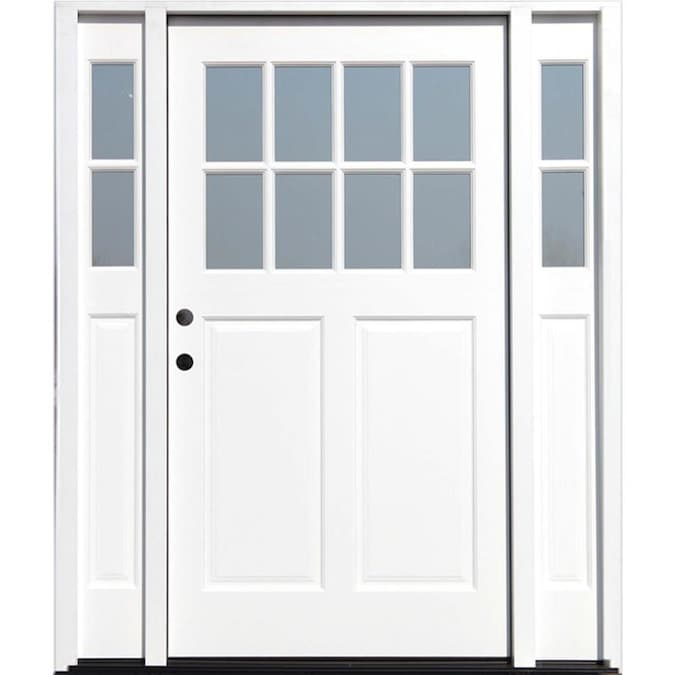 Creative Entryways Craftsman Wood 2 3 Lite Right Hand Inswing White Painted Prehung Single Front Door Brickmould Included In The Front Doors Department At Lowes Com Watch to learn how to install a prehung exterior door. creative entryways craftsman wood 2 3