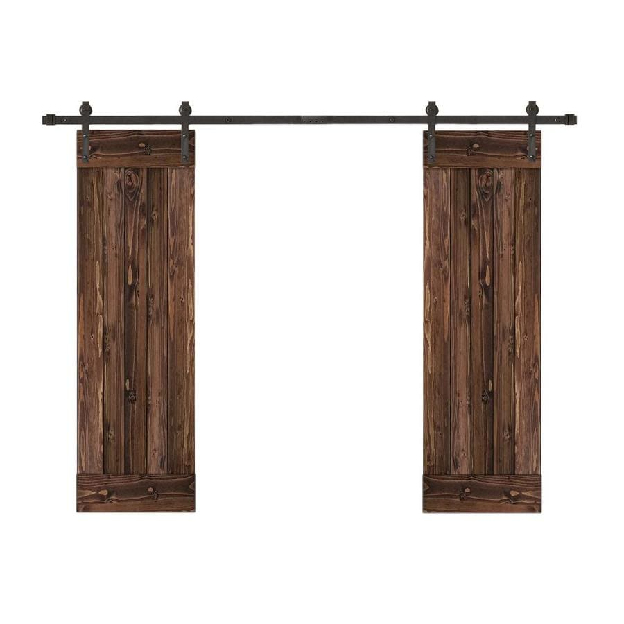 Creative Entryways Biparting Barn Door Espresso Stained 1 Panel Wood Pine Hardware Included Common 48 In X 80 Actual 84
