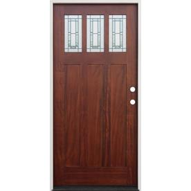 Creative Entryways Craftsman Decorative Gl Left Hand Inswing Pecan Mahogany Stained Wood Prehung Entry Door