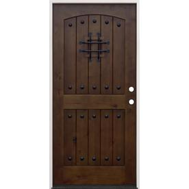 Creative Entryways Left Hand Inswing Walnut Alder Stained Wood Prehung Entry Door Solid Core