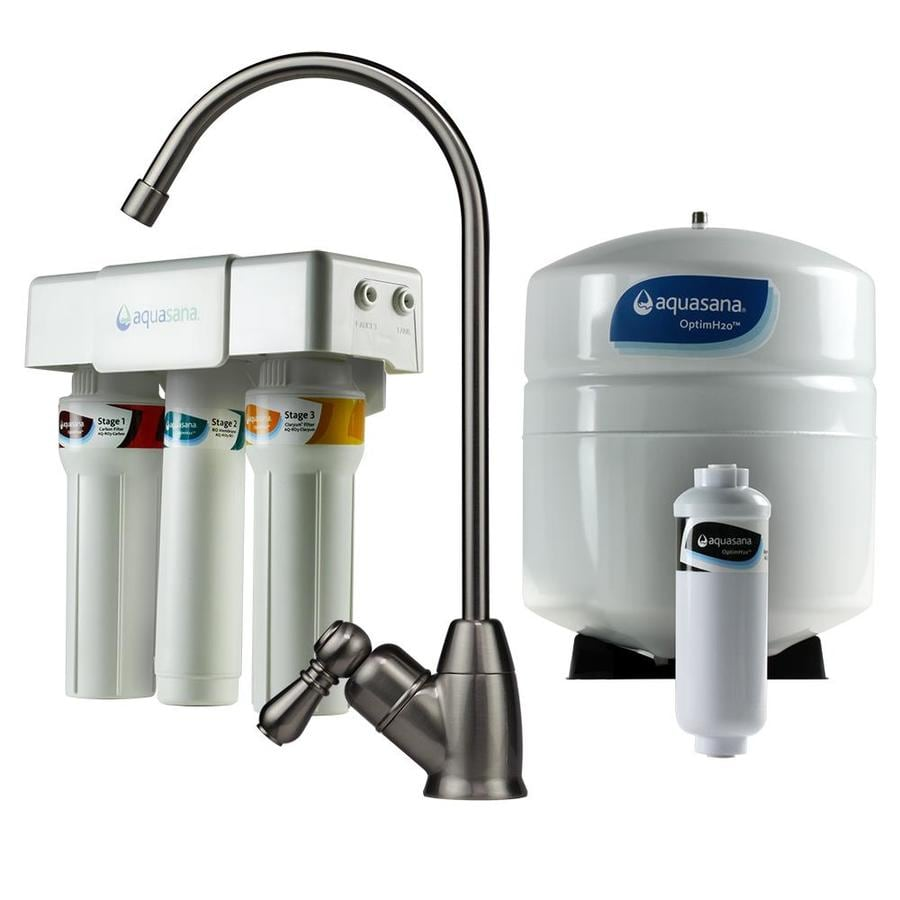Shop aquasana optimh2o triple stage reverse osmosis membrane under sink filtration system at - Lowes water filter under sink ...