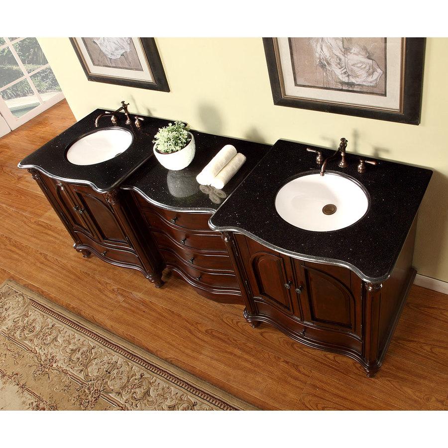 Silkroad Exclusive 83 In Rosewood Undermount Double Sink Bathroom Vanity With Black Galaxy Granite Top In The Bathroom Vanities With Tops Department At Lowes Com