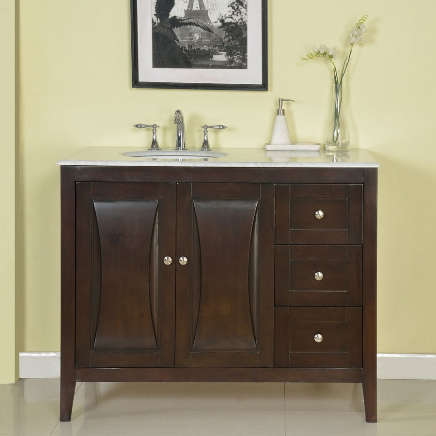 silkroad exclusive 45 in dark walnut single sink bathroom vanity rh lowes com