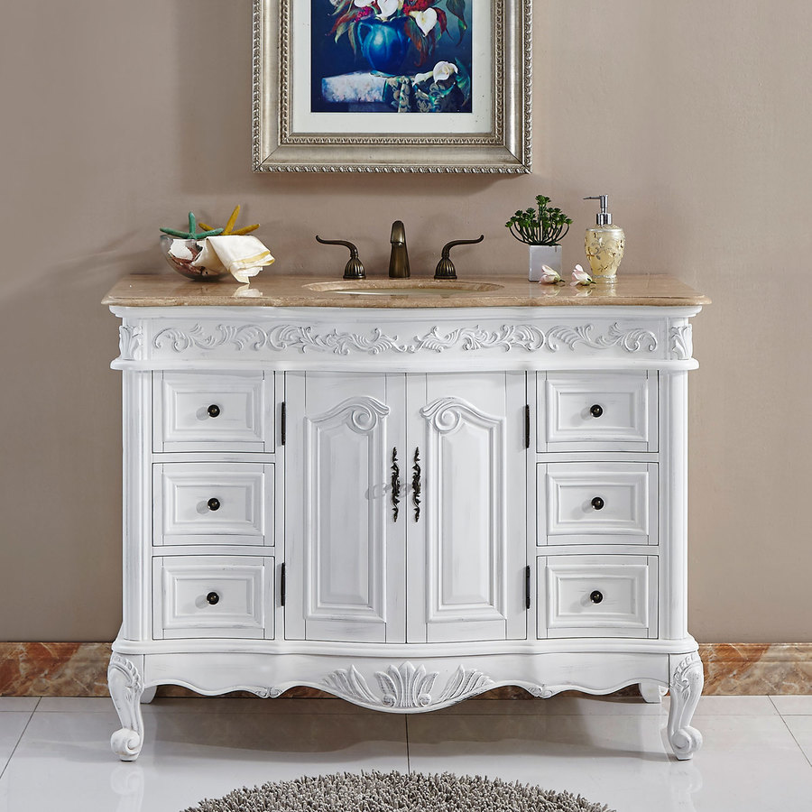 Silkroad Exclusive 48 In Antique White Undermount Single Sink Bathroom Vanity With Travertine Top In The Bathroom Vanities With Tops Department At Lowes Com