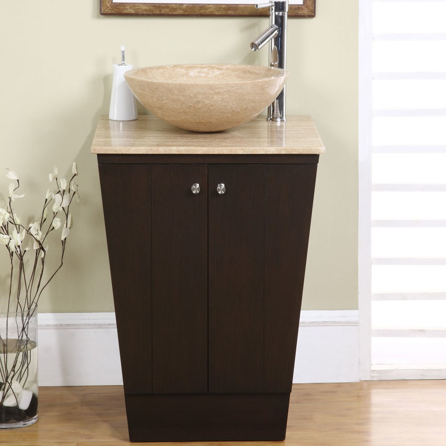 Silkroad Exclusive 22 In Dark Walnut Single Sink Bathroom Vanity With Travertine Top In The Bathroom Vanities With Tops Department At Lowes Com