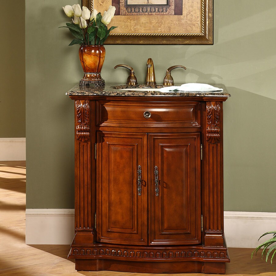 Silkroad Exclusive 33 In Cherry Undermount Single Sink Bathroom Vanity With Baltic Brown Granite Top In The Bathroom Vanities With Tops Department At Lowes Com