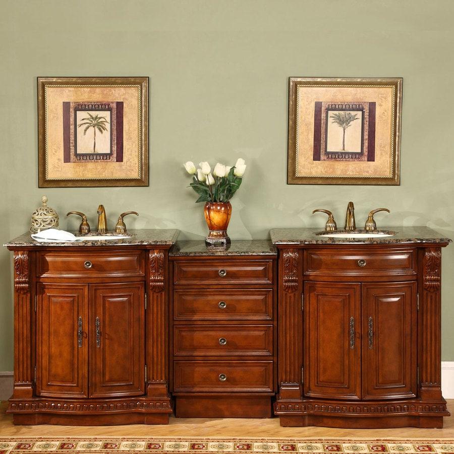 Silkroad Exclusive 84 5 In Cherry Double Sink Bathroom Vanity With