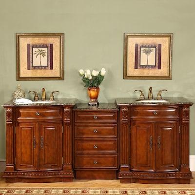 Silkroad Exclusive 84 5 In Cherry Double Sink Bathroom