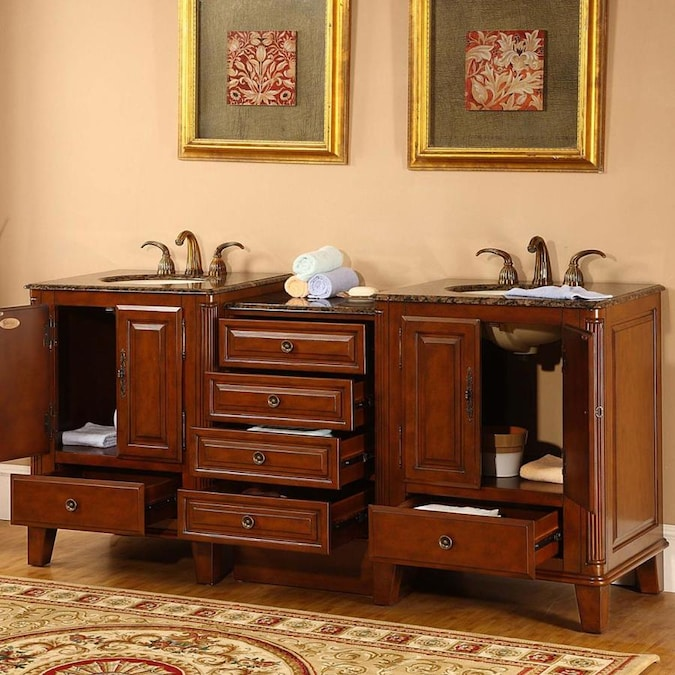 Silkroad Exclusive 76 In Special Walnut Double Sink Bathroom Vanity With Baltic Brown Granite Top In The Bathroom Vanities With Tops Department At Lowes Com