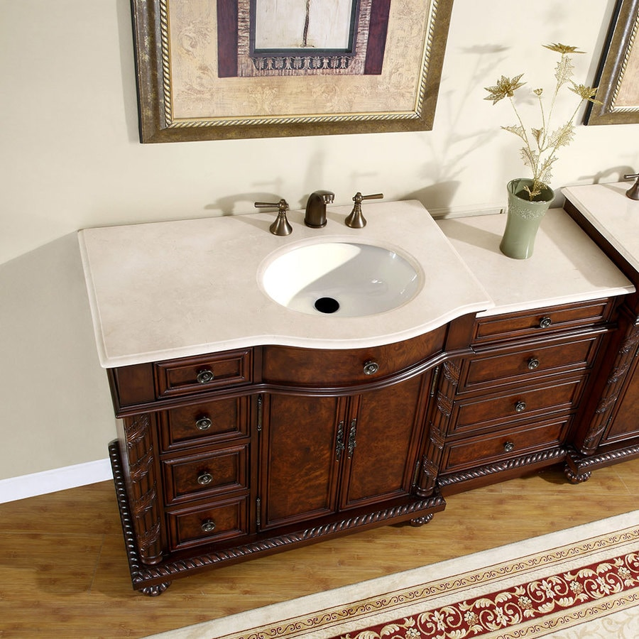 Silkroad Exclusive 55.5-in English Chestnut Single Sink ...