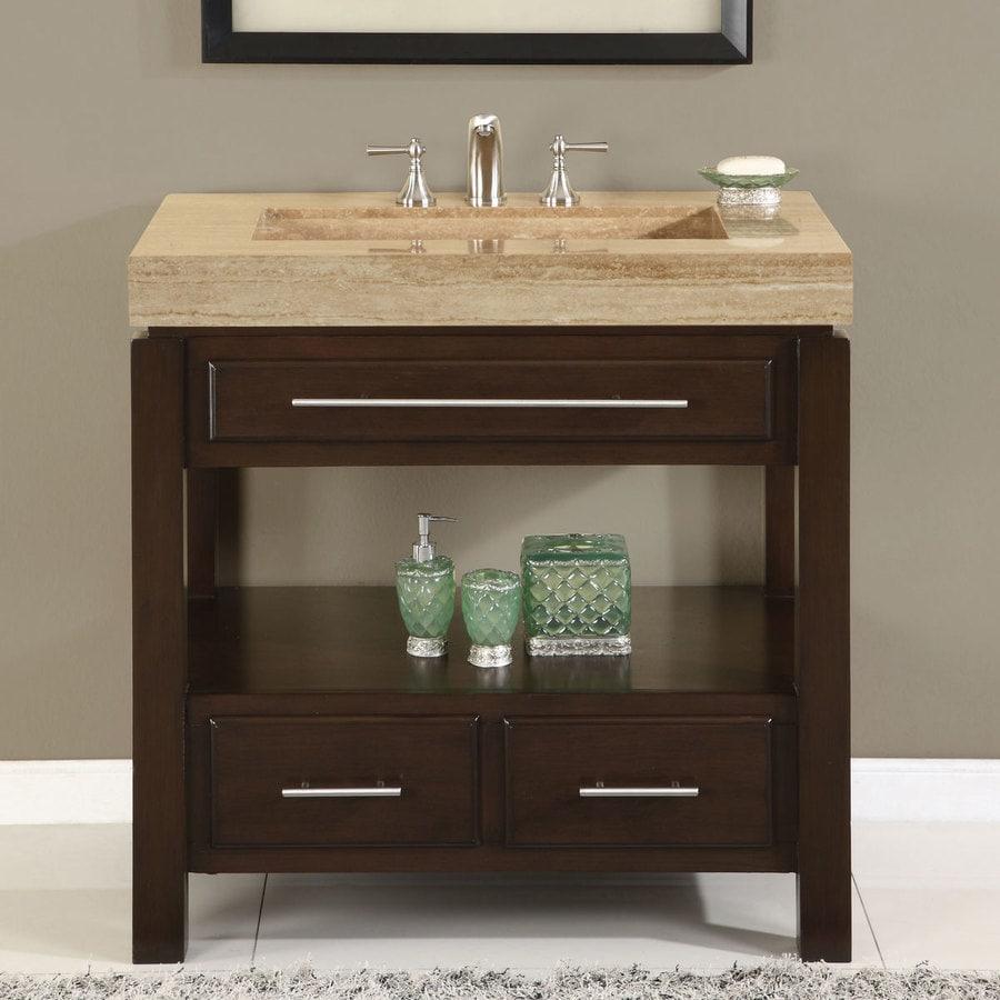 Silkroad Exclusive 36 In Dark Espresso Single Sink Bathroom Vanity With Travertine Top In The Bathroom Vanities With Tops Department At Lowes Com