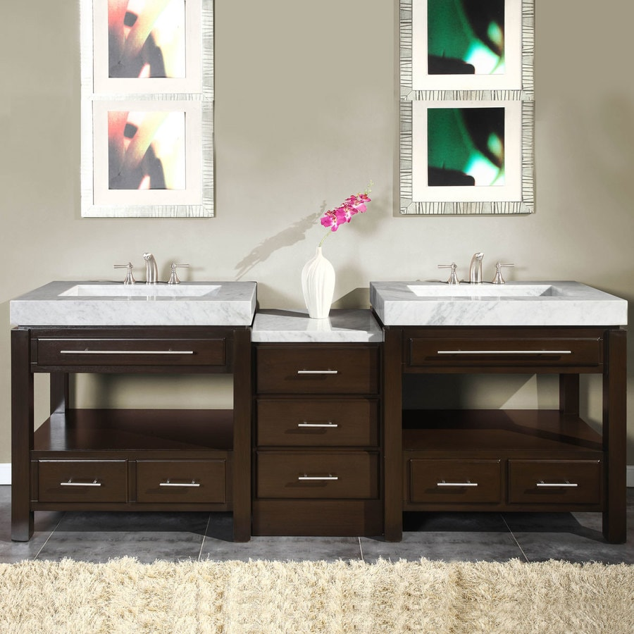 Silkroad Exclusive 92 In Dark Espresso Double Sink Bathroom Vanity With Carrara White Natural Marble Top In The Bathroom Vanities With Tops Department At Lowes Com
