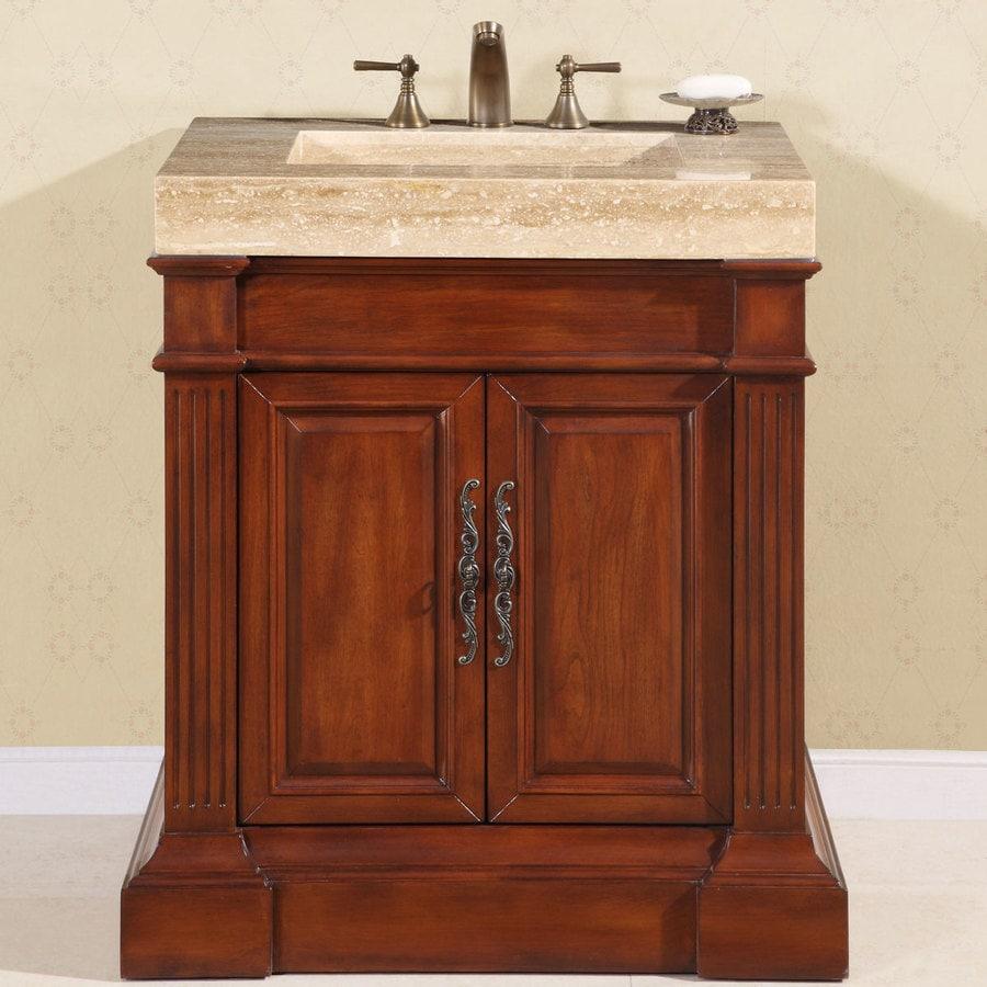 Silkroad Exclusive 33 In Cherry Single Sink Bathroom Vanity With Travertine Top In The Bathroom Vanities With Tops Department At Lowes Com