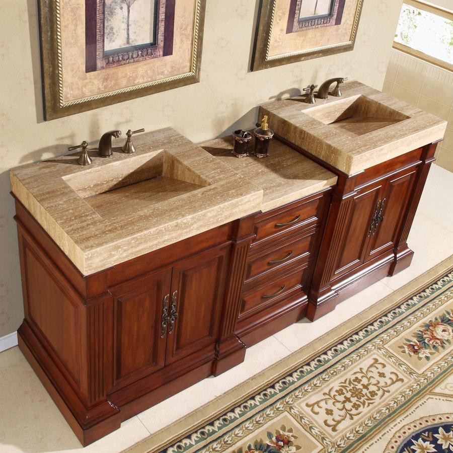 Silkroad Exclusive 83 In Cherry Double Sink Bathroom Vanity With Travertine Top